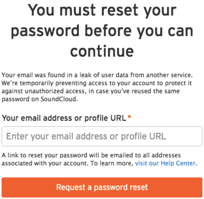 Prompted to reset your password – SoundCloud Help Center