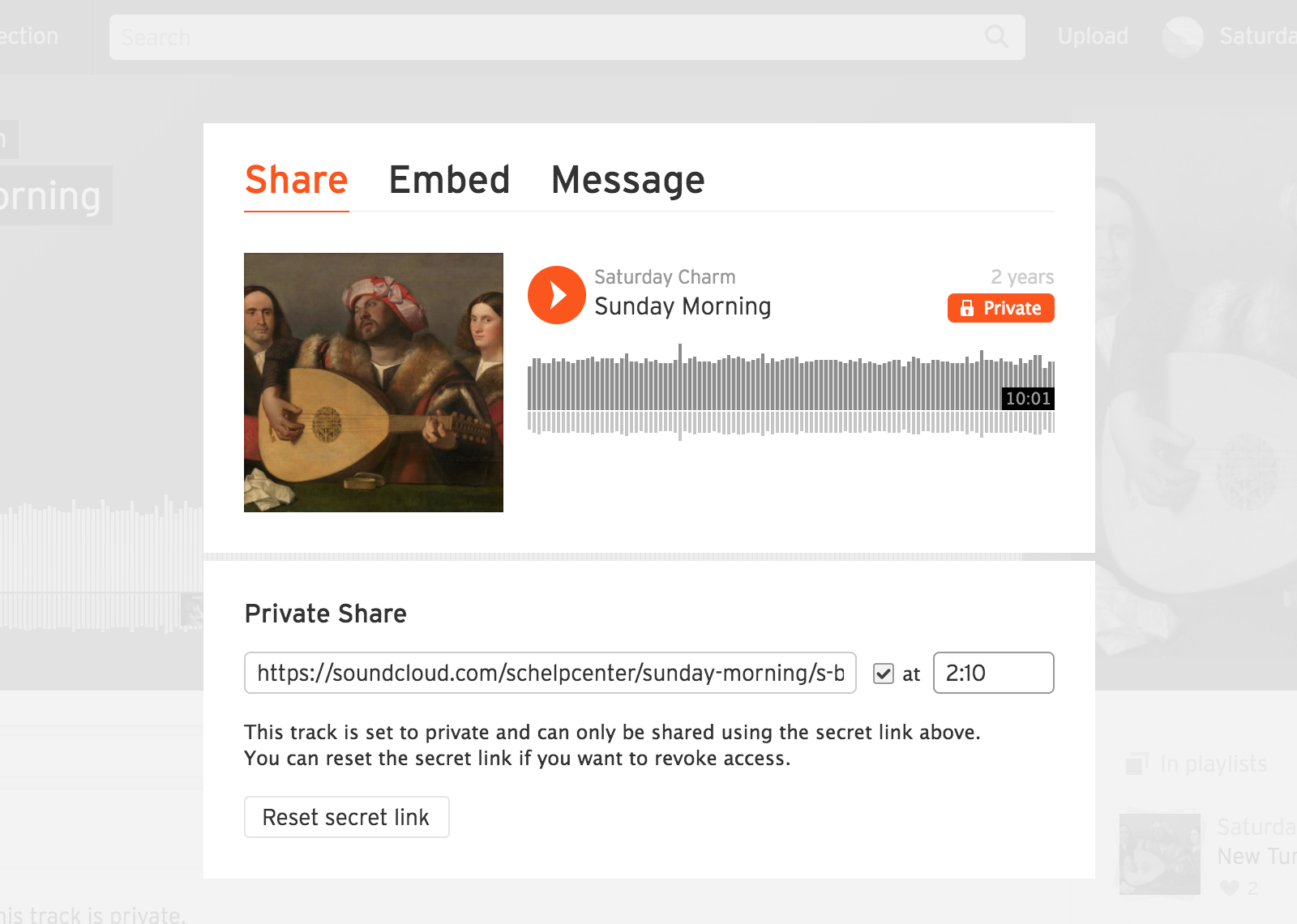 Sharing a private track or playlist within SoundCloud – SoundCloud